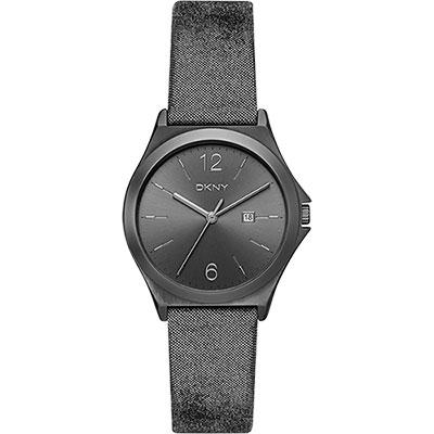DKNY 紐約佳人都會腕錶-金屬黑/34mm