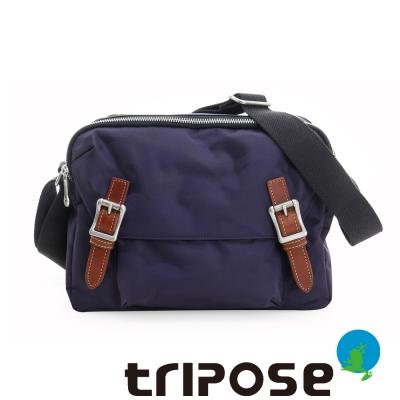 tripose 迷彩系列雙層拉鍊肩背斜背包 藍紫