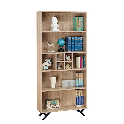品家居 路易多2.7尺橡木紋開放式書櫃-80x30x180cm免組