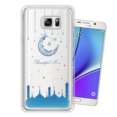 WT Samsung Galaxy Note5 奧地利水晶彩繪空壓手機殼(月彎星...