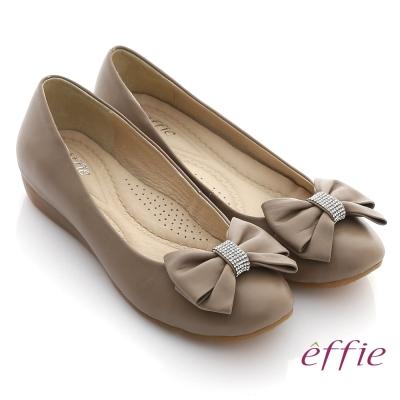 effie 彈力軟芯 全真皮立體水鑽蝴蝶結平底鞋 灰