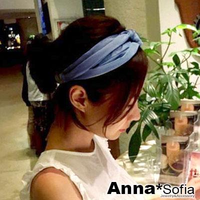 【2件7折】AnnaSofia 牛仔布質交叉結 彈性寬髮帶(中藍系)