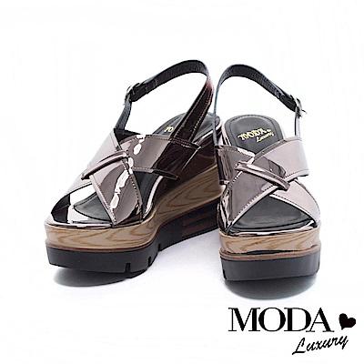 涼鞋 MODA Luxury 摩登鏡面交織寬帶厚底楔型涼鞋- 古銅