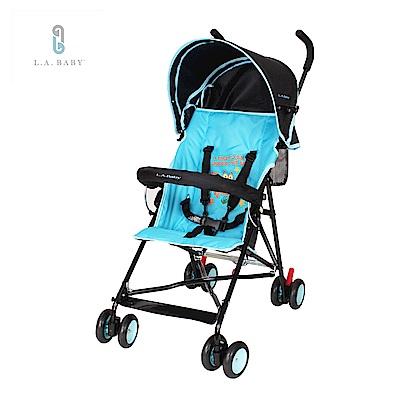 (美國 L.A. Baby) 亮彩輕便嬰兒手推車(繽紛藍)