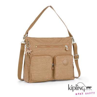 Kipling-手提包-沙褐色素面