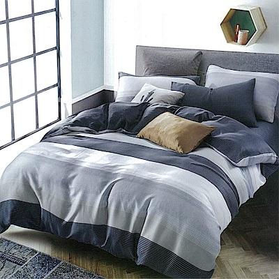 LAMINA 時尚先生-藍 100%天絲四件式兩用被套床包組(雙人)