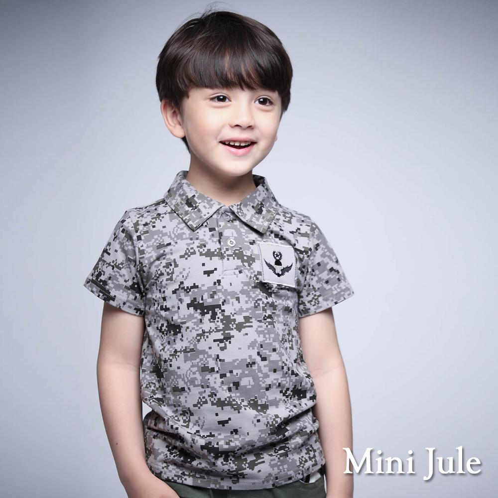 Mini Jule-POLO衫 馬賽克迷彩線繡老鷹棉質上衣(灰)