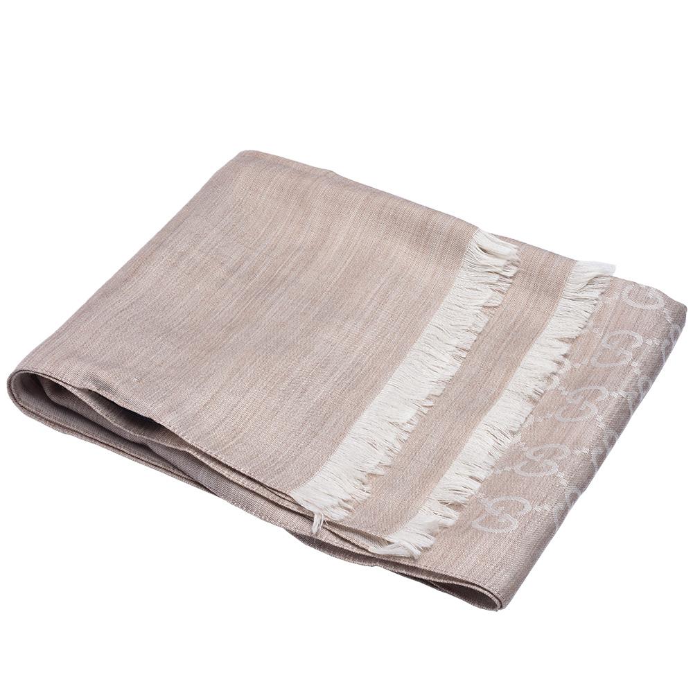 GUCCI 經典大G緹花羊毛混絲流蘇圍巾(深米色/180X45cm)