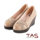 TAS 太妃Q系列 柔軟乳膠交叉鬆緊帶厚底楔型鞋-氣質米