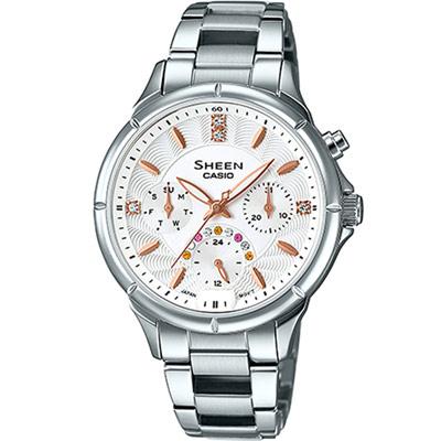 SHEEN 氣質品味時尚晶鑽錶(SHE-3047D-7A)-白/35.3mm