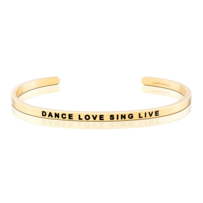 MANTRABAND Dance Love Sing Live 美國悄悄話手環 金色手環