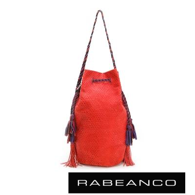 RABEANCO-流蘇抽繩牛皮網狀水桶包-紅