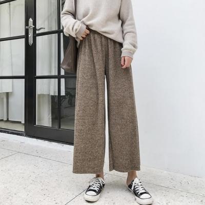 La Belleza螺紋坑條鬆緊腰抽繩闊腿褲九分褲寬褲