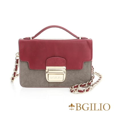 義大利BGilio-水洗羊皮氣質金扣小包-棗紅色 1951.002A-01