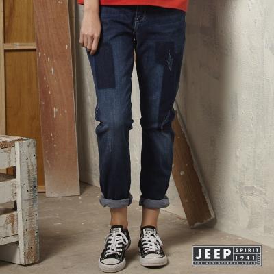 JEEP-女裝刷色輕破壞Boyfriend-Jeans