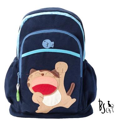 ABS貝斯貓 可愛貓咪手工拼布後背包 (藍) 88-207