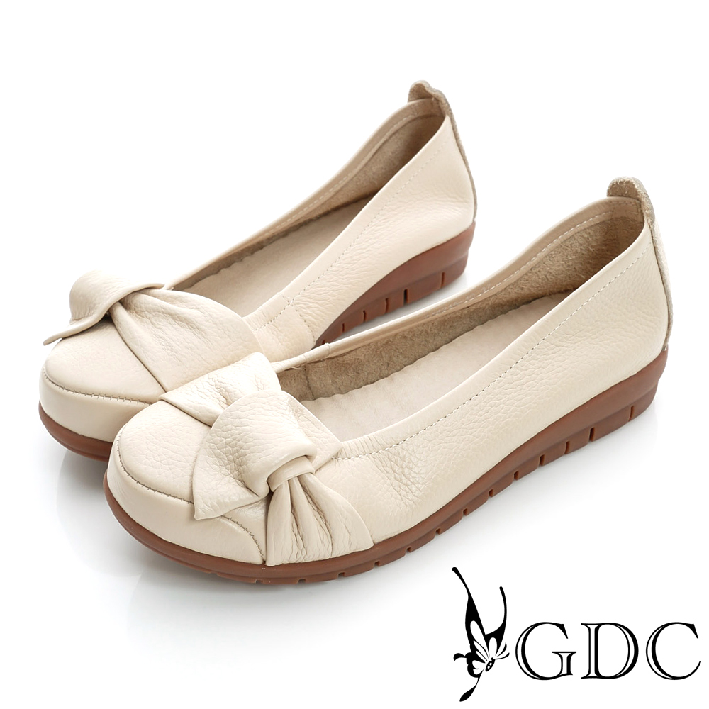 GDC百搭-側蝴蝶加厚真皮平底娃娃鞋-米杏色