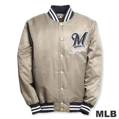 MLB-密爾瓦基釀酒人隊鋪棉棒球外套-卡其(男)