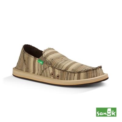 SANUK 帆布條紋懶人鞋-男款(褐色)