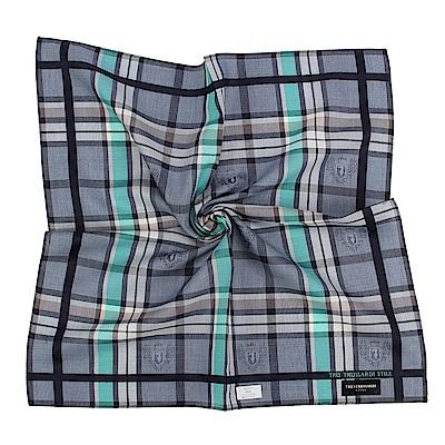 TRUSSARDI 交錯格紋純棉帕巾-綠/藍灰