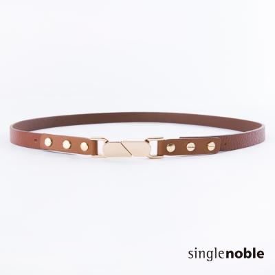 獨身貴族 復古輕甜感雙邊金屬釦環設計皮帶(2色)