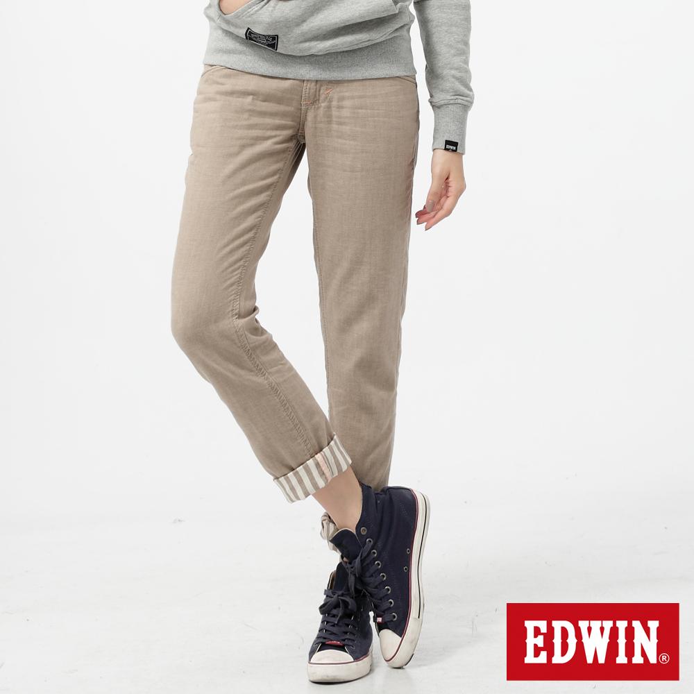 EDWIN 休閒童趣 MISS BT袋蓋B.F色褲-女款-淺卡其