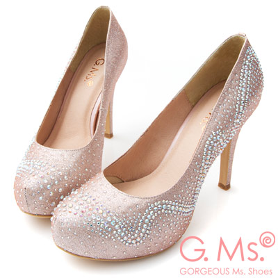 G.Ms. MIT花嫁系列-水鑽金蔥婚宴新娘高跟鞋-粉色