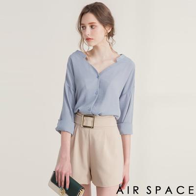 AIR SPACE V領剪裁百搭落肩襯衫(藍)