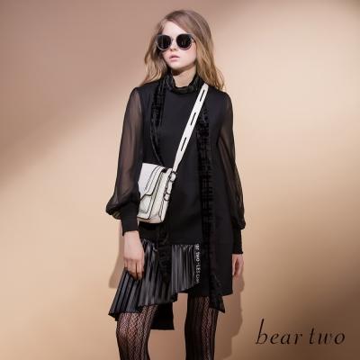 beartwo不對稱剪裁百褶裙襬拼接造型洋裝-黑色