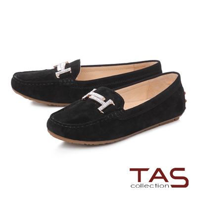 TAS T字白鑽雙扣麂皮莫卡辛便鞋-奢華黑