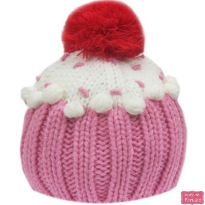 LILY & JACK 英國 粉白大球球針織毛帽