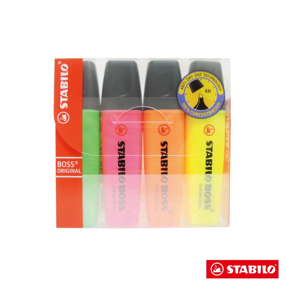 Stabilo 螢光系 - BOSS 螢光筆4色