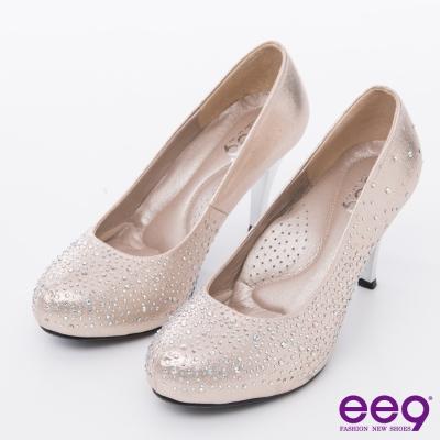ee9 心滿益足~璀璨低調奢華進口閃亮布夢幻水鑽高跟鞋*粉色