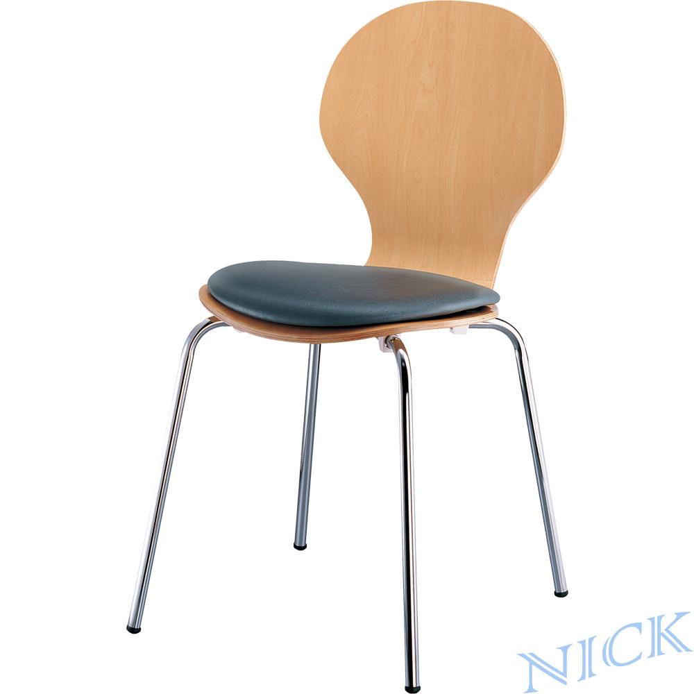 【NICK】 圓弧椅背皮革坐墊實木成型洽談椅