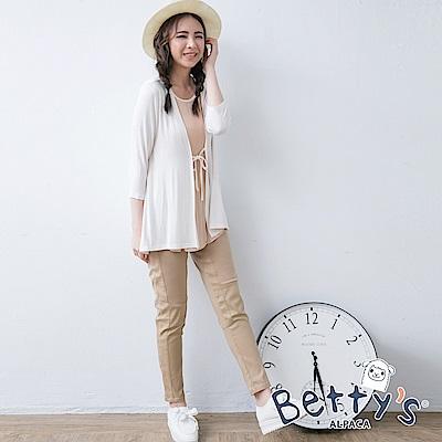 betty's貝蒂思 異材質拼接彈性窄管褲(淺咖啡)