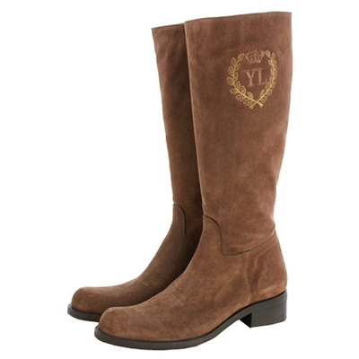 YL INDUSTRIE 咖啡色麂皮低跟長靴(展示品)