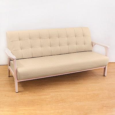 Bernice-森克實木貓抓皮沙發三人椅/三人座(洗白色)(四色可選)