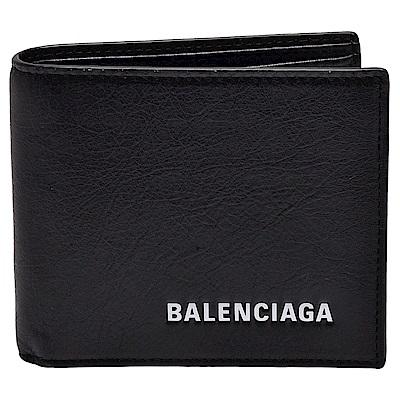 BALENCIAGA 經典EVERYDAY系列品牌粗體字母烙印小羊皮對摺短夾(黑)