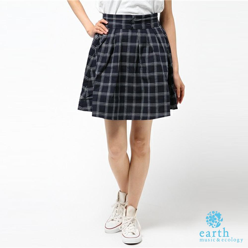 earth music 腰際鬆緊格紋膝上圓裙-16163L00040