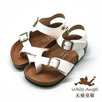 天使童鞋- 陽光羅馬氣墊夾腳親子拖鞋(中-大童)J856-白