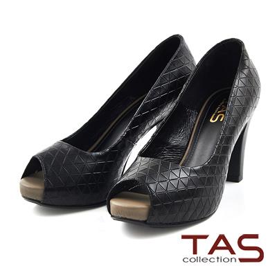 TAS-三角壓紋牛皮魚口高跟鞋-時尚黑