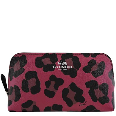 COACH-紫紅色豹紋圖樣PVC化妝包