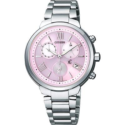 CITIZEN XC 浪漫城市鈦金屬光動能計時腕錶(FB1330-55W)-粉紅/35mm