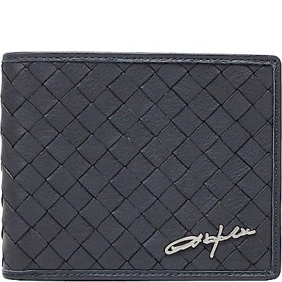OBHOLIC 深藍色編織義大利牛皮 短夾 皮夾 錢包