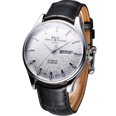 BALL Trainmaster 鐵路長官復刻版機械錶-銀x黑錶帶/39.5mm