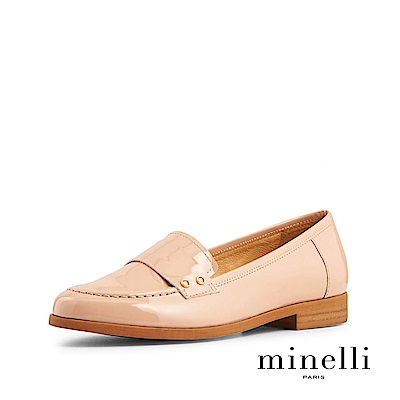 Minelli--葡萄牙製造 全真皮金屬圓環樂福平底鞋-百搭裸膚