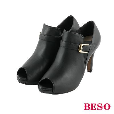 BESO俐落都會 鬆緊帶釦環全真皮細跟魚口跟鞋~黑