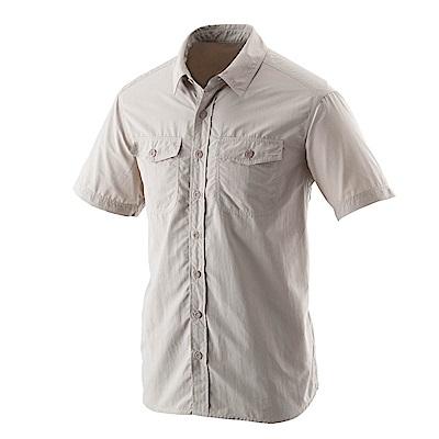 【Wildland 荒野】男排汗抗UV短袖襯衫卡其