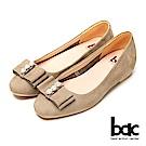 bac時尚美人-珍珠水鑽點綴平底包鞋-灰色