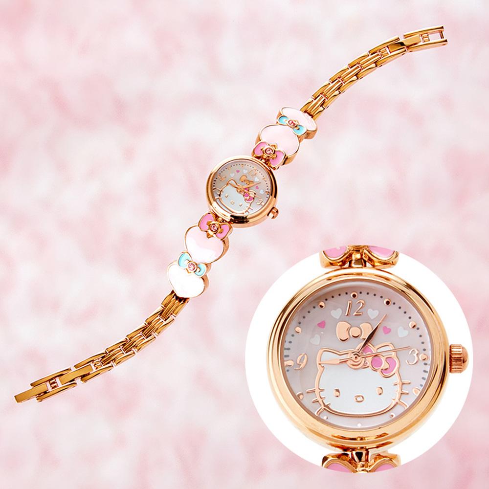 Sanrio HELLO KITTY玫瑰金愛心鍊條錶帶手錶